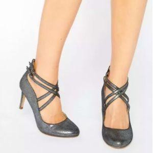 Head Over Heels by Dune Pewter Cross Strap Heels